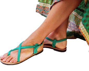 Handmade womens leather sandals in light green color