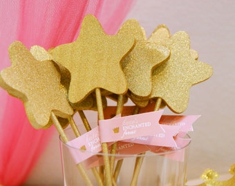 Printable pink and gold glitter tags -  Wand tags - Enchanted forest - Princess party - Girls birthday - Customizable