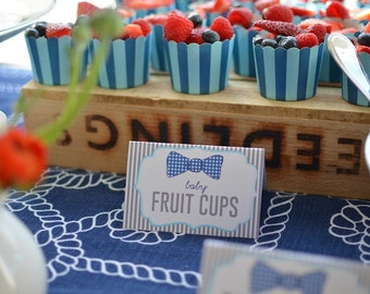 Printable food labels - Little Gentlemen - Bow tie party - Gingham - First birthday - Boy Birthday party - Baby shower
