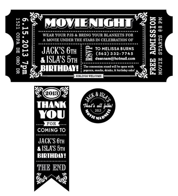 CUSTOMIZED Movie Ticket INVITATION PRINTABLE by deannamooredesign