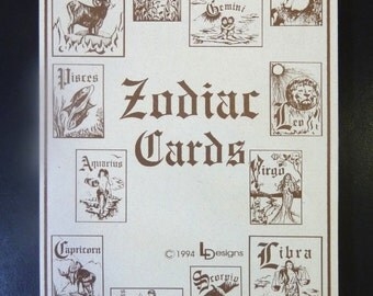 Set of 12 Zodiac Greeting Cards, 1994