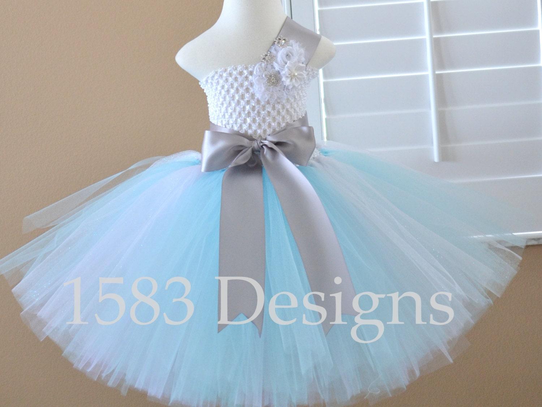 Snowflake Aqua Light Blue Silver White Glitter Tutu Dress