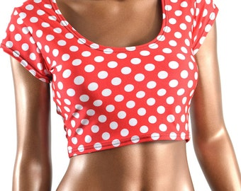 Red & White Polka Dot Scoop Neck Cap Sleeve Lycra Spandex Crop Top -E7701