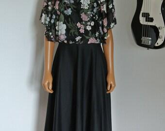1970s Boho Dress Hippie Prairie Festival Black floral with Capelet Blouson Top/ S/ M