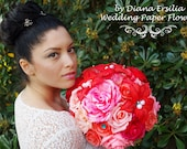Beautiful Red,PINK, coral and teal shades  Paper Flowers Wedding Bouquet. bridesmaid bouquet, Handmade Wedding