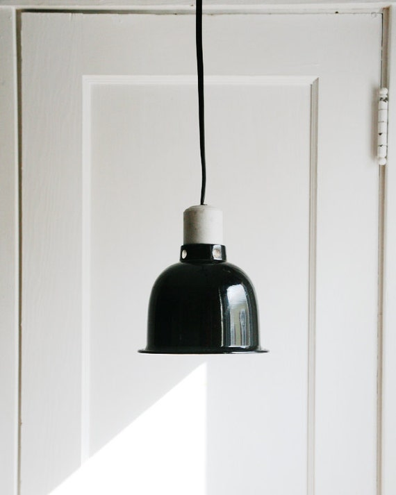Wall Plug Hanging Lamps : Industrial Chic Pendant Light Vintage Black Enamel Aluminum