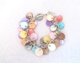 Cha Cha Bracelet Multi-Color Bracelet Pastel Mother of Pearl Bracelet Shell Bracelet Festival Fiesta Gift Idea For Her