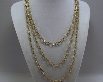 Vintage Goldtone Opera Length Textured Chain Necklace