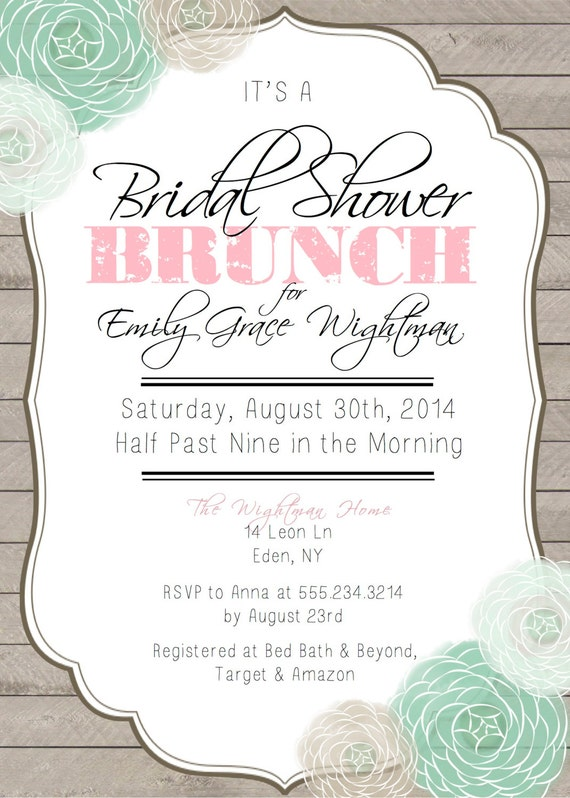 Bridal shower brunch printable invitation for Wedding brunch invitations