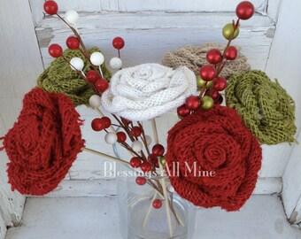 6 Wooden Stemmed Burlap Flowers, Burlap Flower Bouquet, Floral Arrangement, Centerpiece, Rustic Christmas Decor, Wedding Decor, Gift