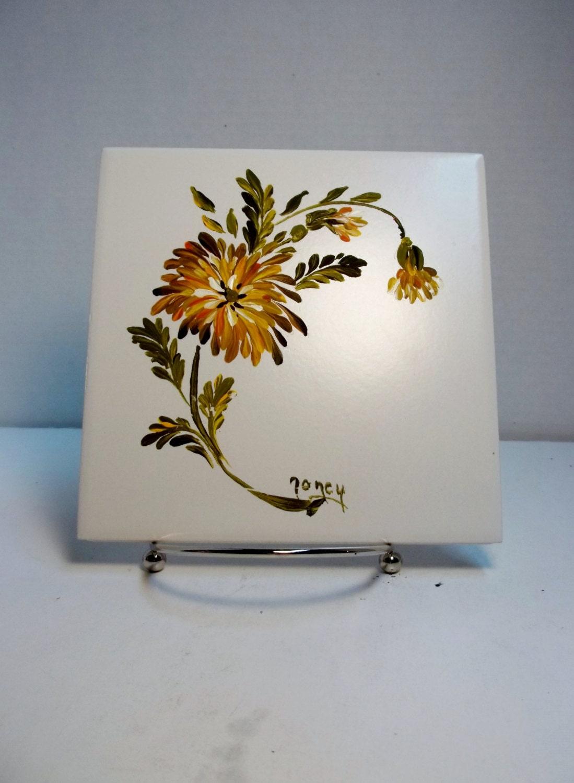 Ceramic tile white hand painted flower garden - Hand painted ceramic tile ...