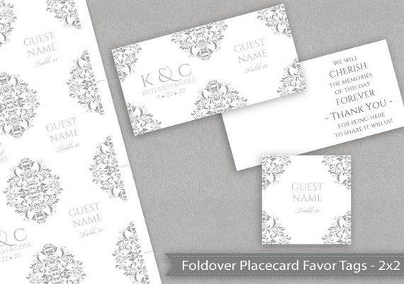 Wedding Favor Tags Template Word : DiY Wedding Favor Place Card Tags (2 2 Folded) - Instant DOWNLOAD ...