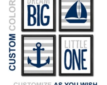 nautical nursery anchor sailboat, navy gray nautical baby decor, dream big baby quotes, nautical gifts, baby wall decor, new baby gift