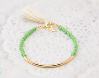 Gold tube bracelet, Beaded Bracelet, beaded bangle, tassel bracelet, Friendship bracelet, seed bead bracelet, green beads bracelet