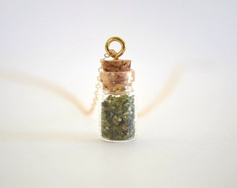 Tiny Bottled Genuine Hawaiian Green Sand Charm Necklace, Gold Filled Chain, Sterling Silver Available