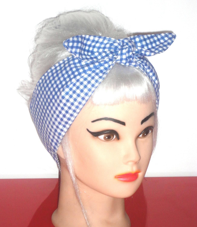 rockabilly scarf headband white gingham pinup vintage