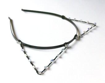 Crystal Black Cat Ears Headband, Kitty Cat Hair Band, Metal Wire Kitten Ears With Swarovski Elements, Bachelorette Accessory, Halloween Ears