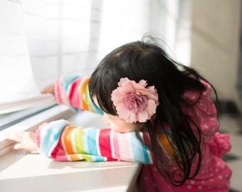 pink  flower hair clip - flower girl hair bow - you choose color  chiffon headband 115