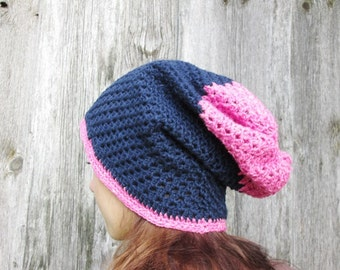 Crochet winter hat, Hand Crochet Hat Womens Hat  slouchy Hat,dark blue with pink, women hat