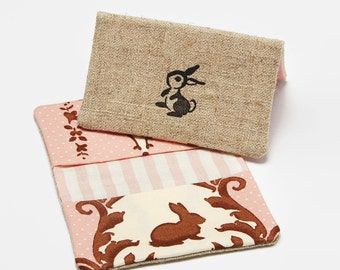 Rabbit Wallet, Womens Business Card Holder, Bunny Card Case in Pink and Brown
