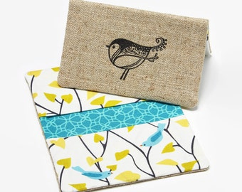 Credit Card Holder, Business Card Case, Fabric Gift Card Wallet - Birds in Branches