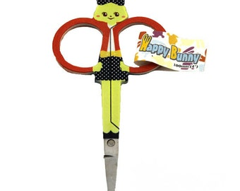 Happy Bunny Embroidery Scissor - 4 Different Bunny Designs - In Grey, Orange, Pink or Blue - Adorable! (W1453)