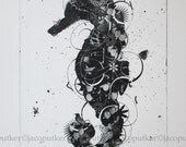 Seahorse - original contemporary black and white art print from the series On the Nature of Things