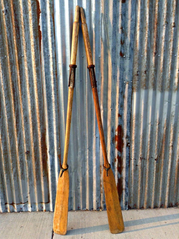 Vintage Oars Paddles Rustic Wall Art Decor Nautical Beach Sea