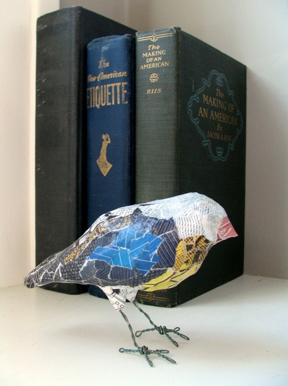Art object paper mache 39 bird one of a kind by bentedgealchemy for Paper mache objects