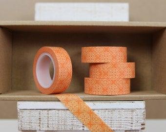 Washi Tape - light orange & orange damask - 3004