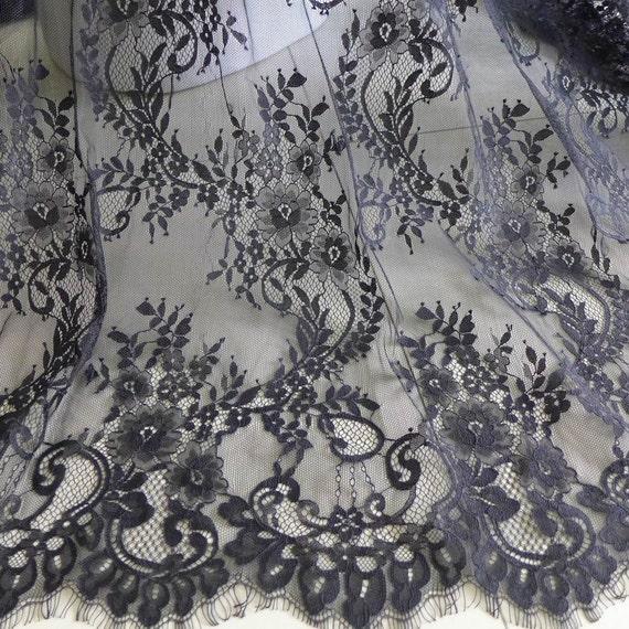 Chantilly vintage negro boda vestido de encaje tela para la - Chantilly telas ...