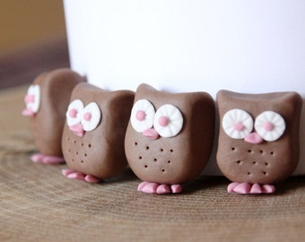Chocolate fondant owl cake decoration, owl cupcake topper, edible owl cake topper x 6