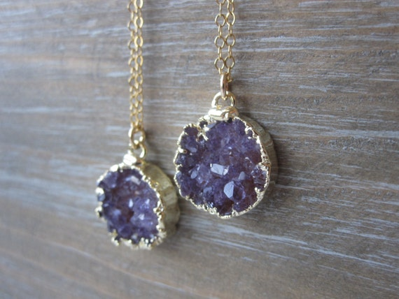 Druzy Necklace, Gold Druzy Necklace, Round Druzy Necklace, Druzy Jewelry, Drusy Necklace