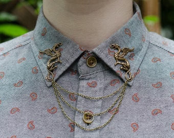 Bronze Griffin Collar Chain/ Cardigan Clip
