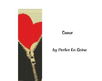 Peyote Pattern Heart and Zipper Cuff Bracelet
