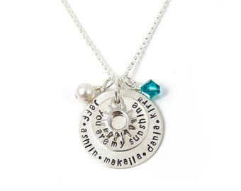 You are my Sunshine necklace, hand stamped sterling silver jewelry, Mother/Mom/Wife necklace