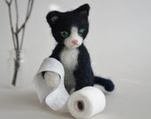 Needle Felted Cat with Green Eyes with TP Roll, Black and White Wool Felted Kitty, Stocking Stuffer, Gift
