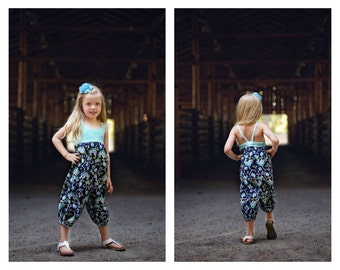 Hummingbird Pantsuit - girls' romper - PDF pattern