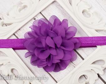 Purple Chiffon headband-Grape Baby Headband-Flower Girl Headband-Baby Girl Headband-Wedding Purple Headband-Infant Headband