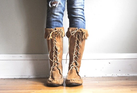 Vintage Leather Moccasin Boots Tall Lace Up Fringe Suede