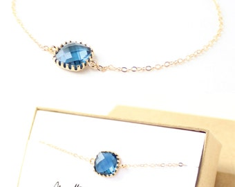 Navy Blue / Gold Single Square Bracelet - Blue Jewelry - Navy Bracelets - Delicate Bracelet - Navy Blue Bridesmaid Gift - BS1