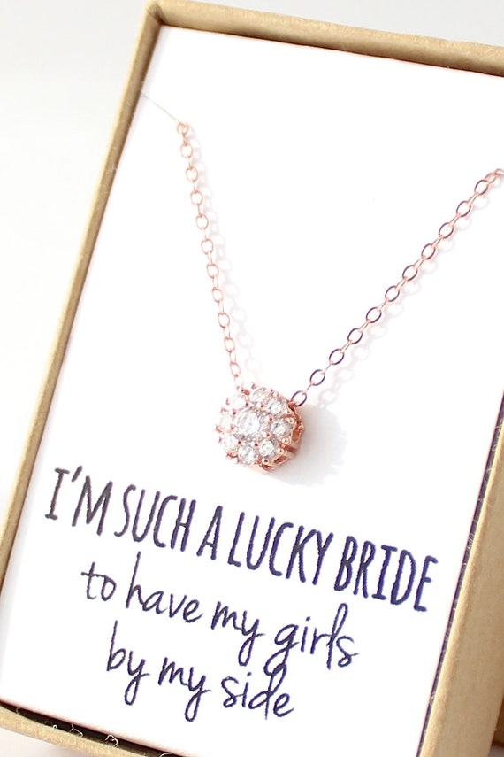 rose gold flower solitaire necklace