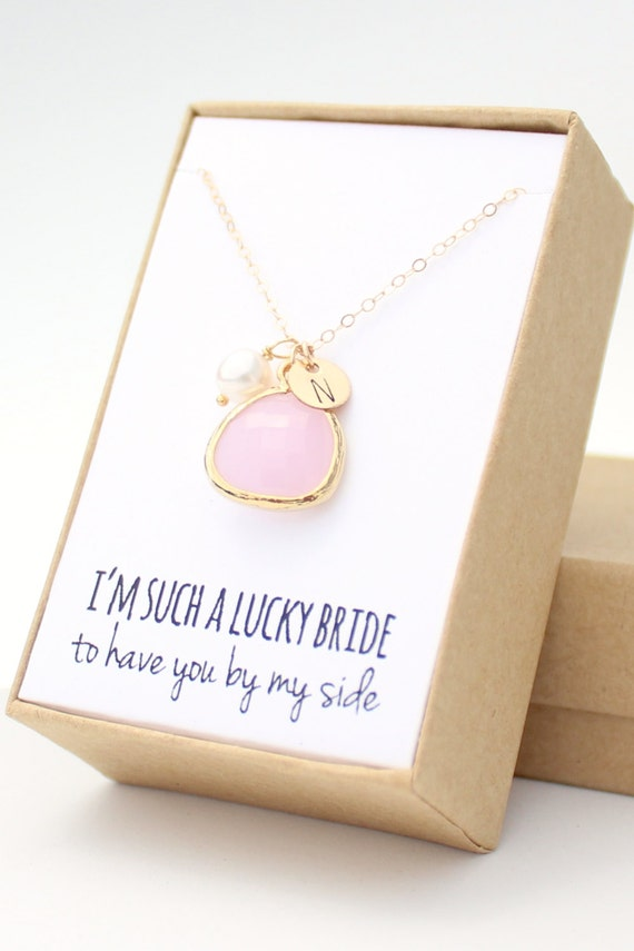 blush pink gold rounded charm necklace