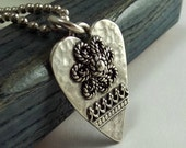 Silver Heart Pendant,  Hammered Silver Heart with Flower,  Flower and Fancy Wire Pendant
