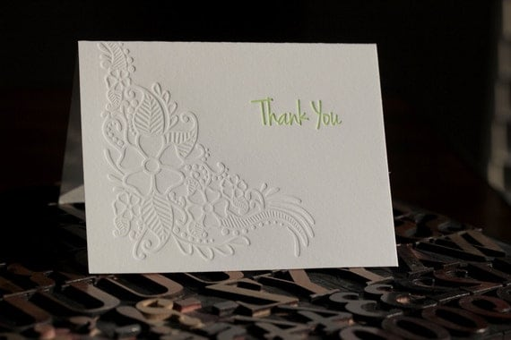 Green Floral Thank You Letterpress Card