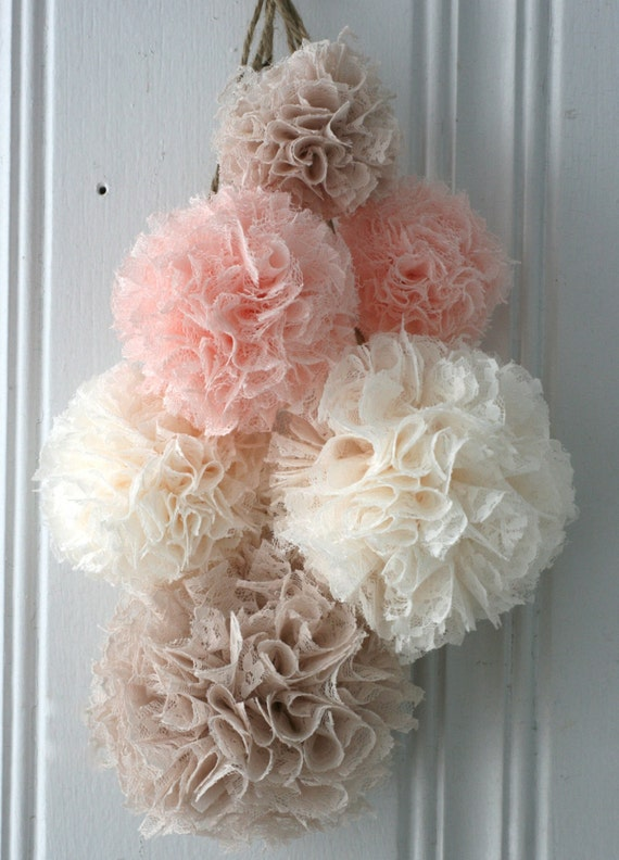 Baby shower blush lace baptism decorations nursery by for Baby girl baptism decoration ideas