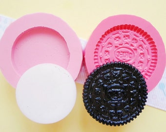38mm 3D Oreo with Cream Biscuit Cookie Flexible Silicone Mold - Decoden Kawaii Sweets Resin Fimo Polymer Clay Sculpey Wax Soap Fondant