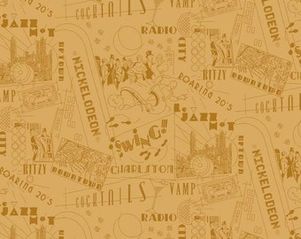 Great Gatsby Type Fabric - Jazz Terms / Scenes - Roaring 20's - by Henley Studio for Makower UK TP 1168 Y - 1/2 yard