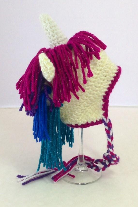 Crochet Pattern For Unicorn Hat : Sparkly crochet unicorn hat by NerdyStitches on Etsy