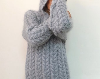 New Hand Knit Mohair Sweater Cable gray Fuzzy Hooded Jumper Pullover Jersey - MADE to ORDER - by Extravagantza